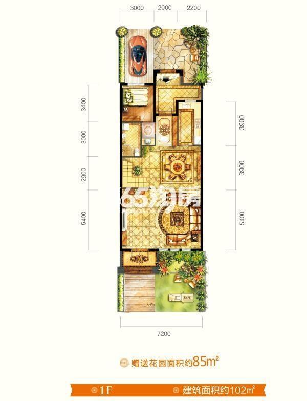 别墅V7户型 五室三厅四卫 建筑面积约265㎡  一层平面图