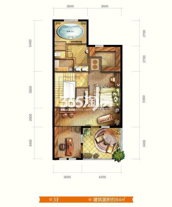 别墅V7户型 五室三厅四卫 建筑面积约265㎡  三层平面图