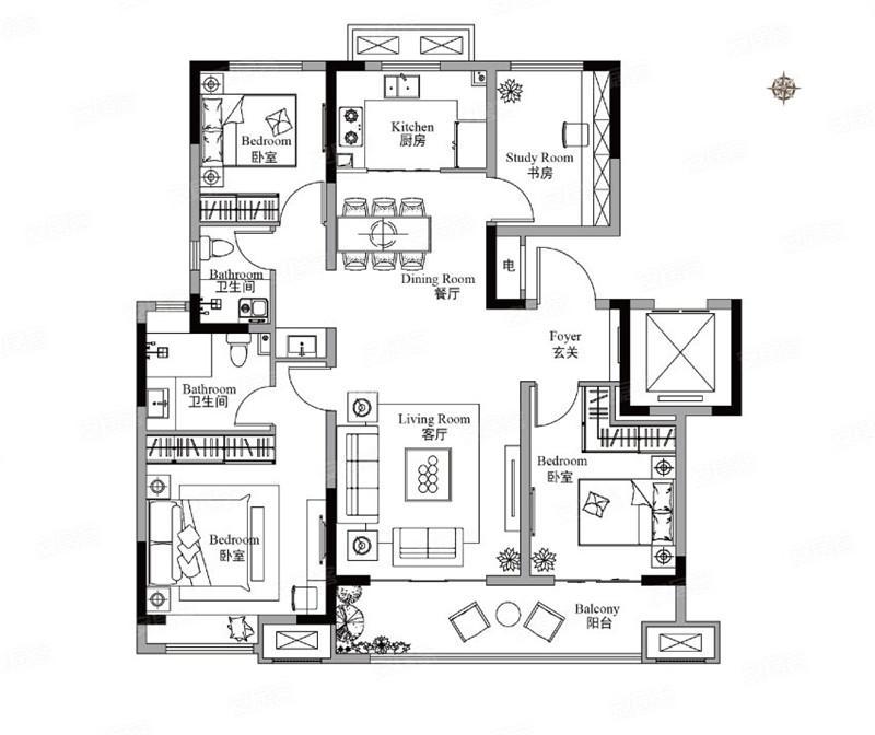 三期125㎡户型4室2厅2卫