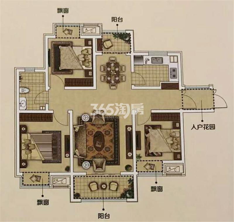 E3'户型约111.86㎡三室两厅一卫