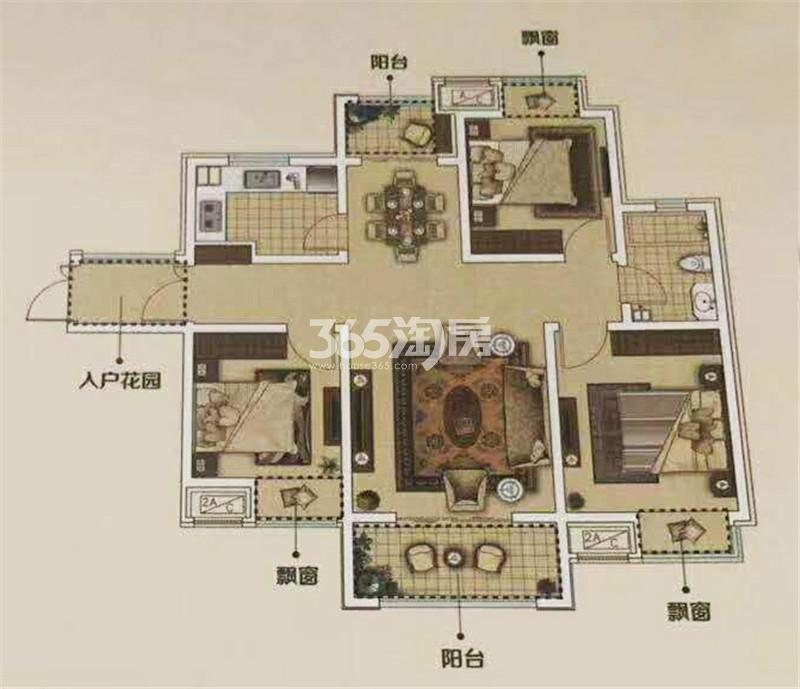 E4'户型约112㎡三室两厅一卫