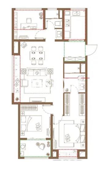 高层A户型, 3室2厅2卫1厨