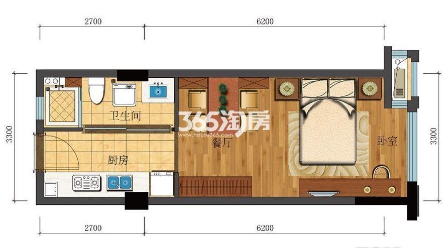 滨江新城东方名府公寓42方G-4户型(1#)