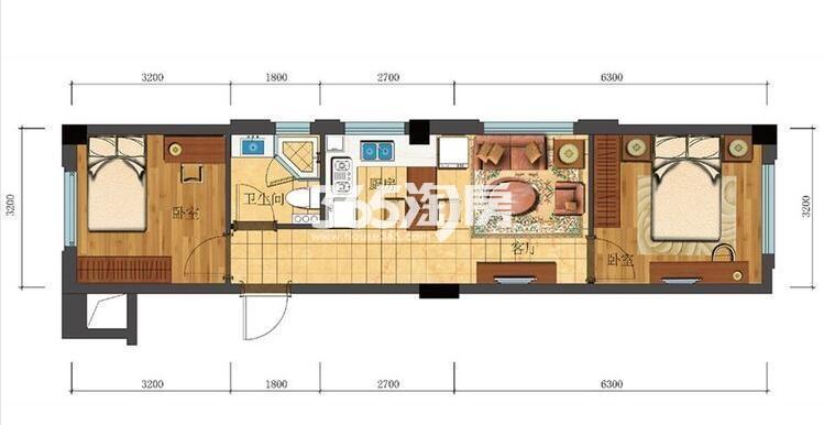 滨江新城东方名府公寓58方G-5户型(1#)