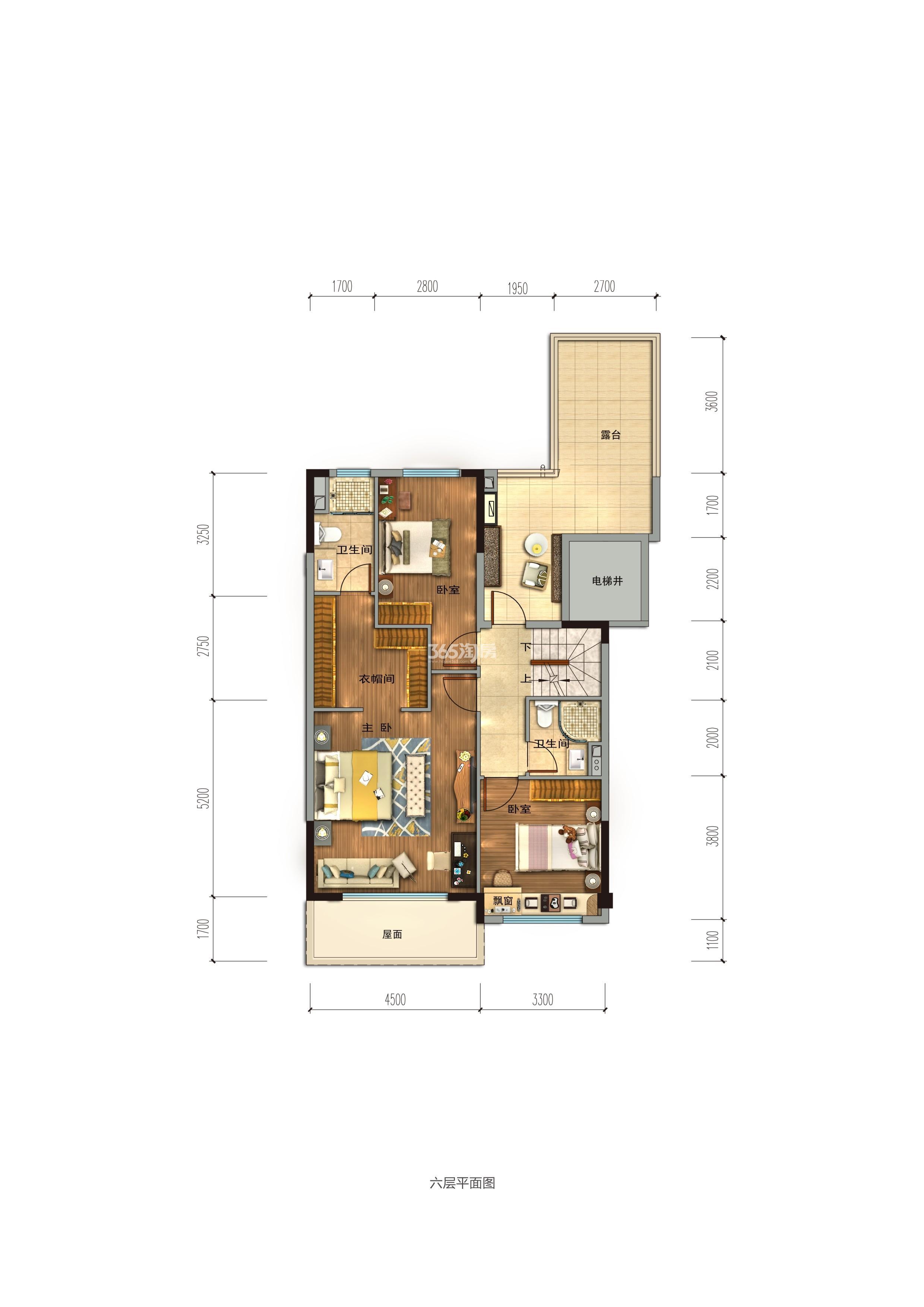 碧桂园香湖湾1号项目160-189㎡上叠(二楼)户型图