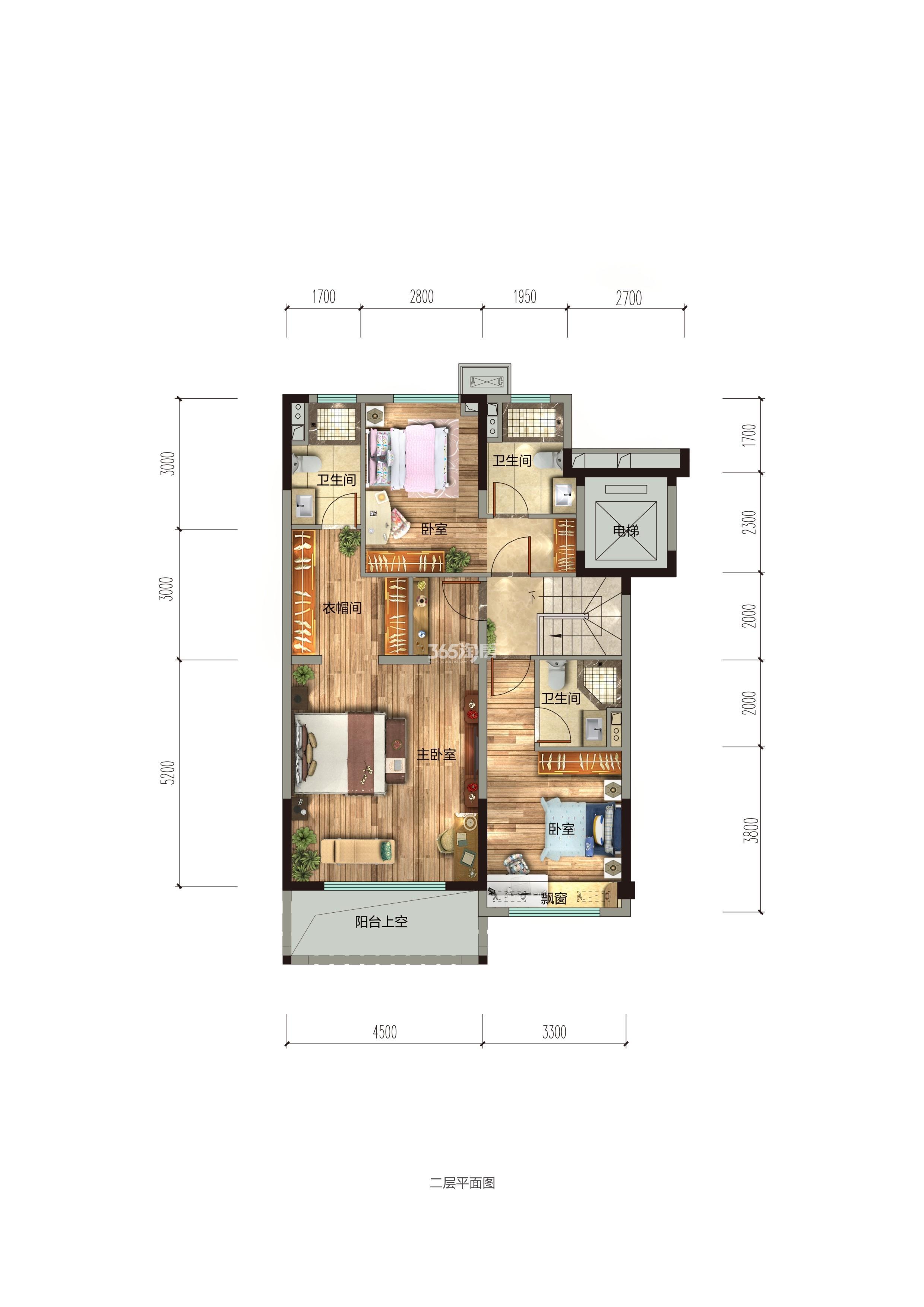 碧桂园香湖湾1号项目157-185㎡下叠(二楼)户型图