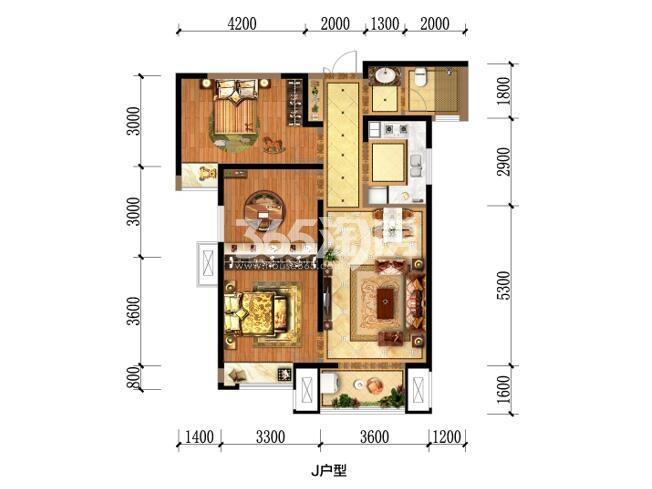 瑞和大唐府邸J户型三室两厅一卫一厨101.36m2