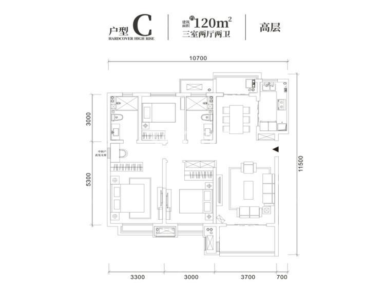 世茂璀璨倾城C户型3室2厅2卫120平米
