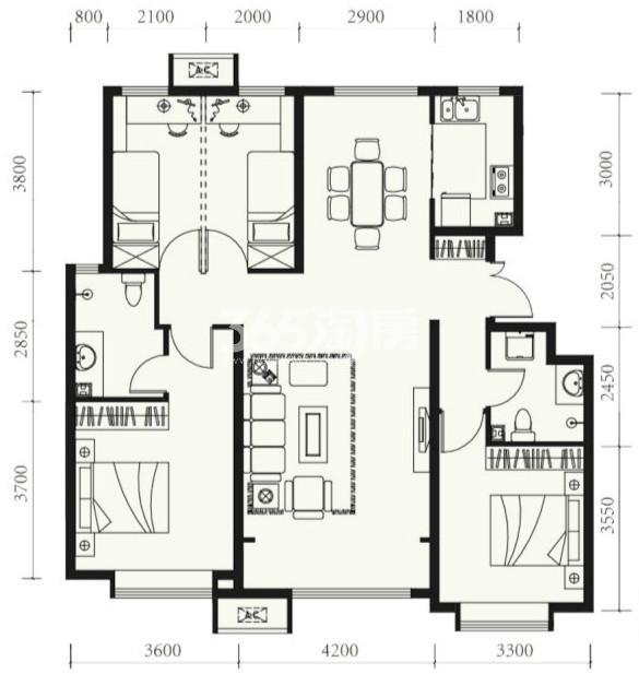 户型图 C户型128.00平米 四室