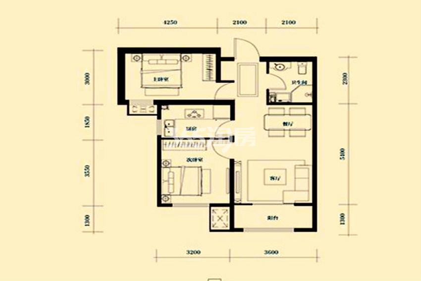 户型图 J户型84.45平米 二室