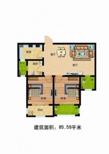 香堤小郡2室1厅1卫85平米毛坯产权房2016年建