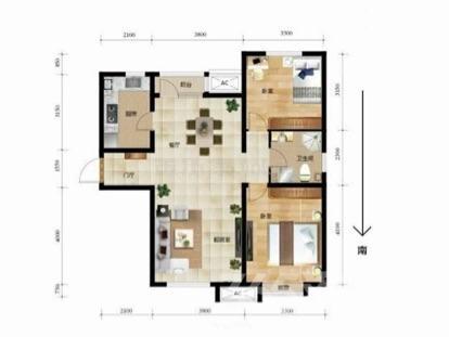 首创城2室2厅1卫99.41平米毛坯产权房2016年建