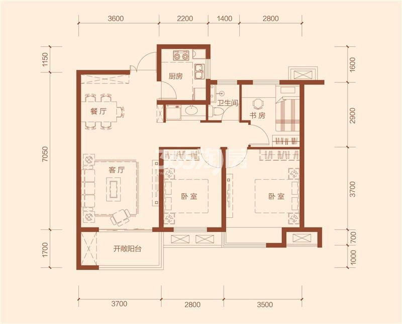 G4a户型三室两厅一卫建筑面积约96.17㎡