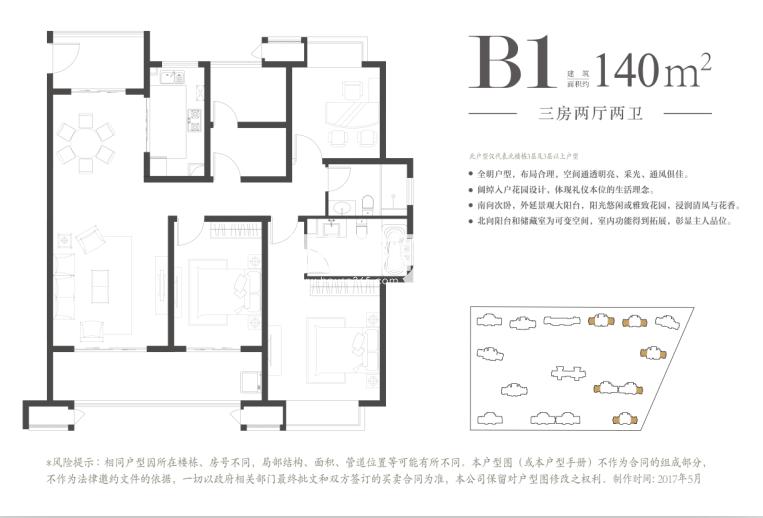 华润凯旋名邸B1户型三房两厅两卫140平