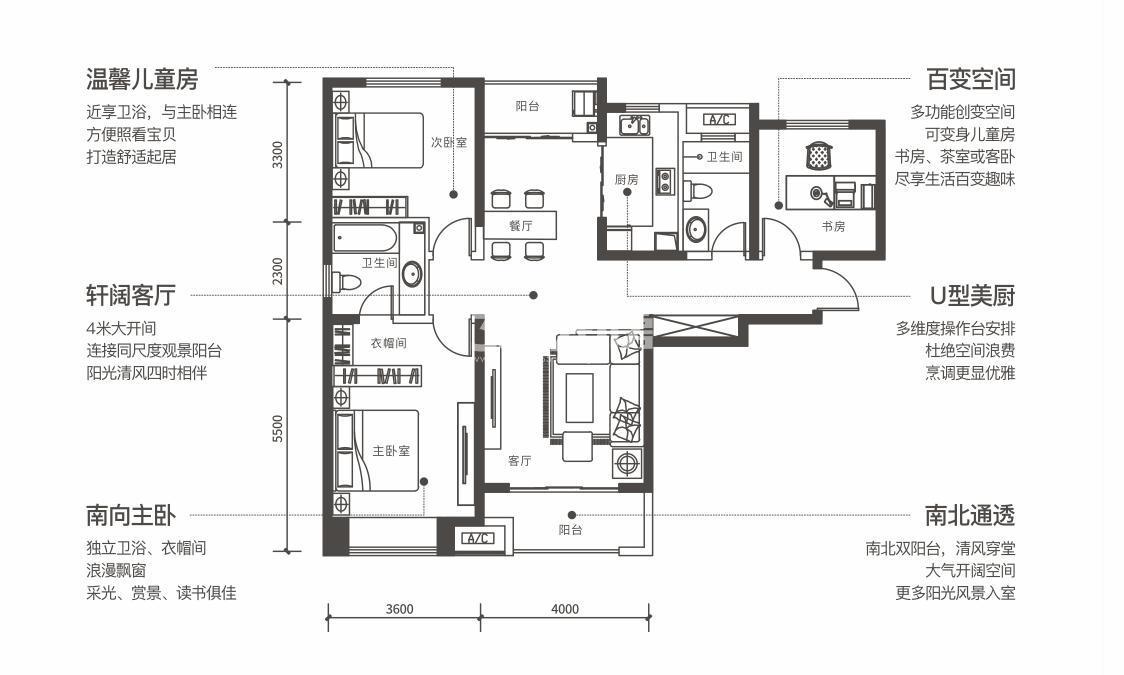 华远辰悦三室两厅两卫一厨129㎡户型图