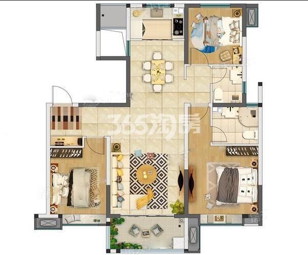 奥园枫丹名郡3室2厅110㎡户型图