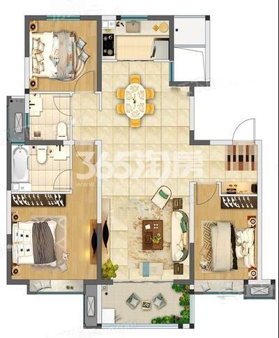 奥园枫丹名郡3室2厅120㎡户型图