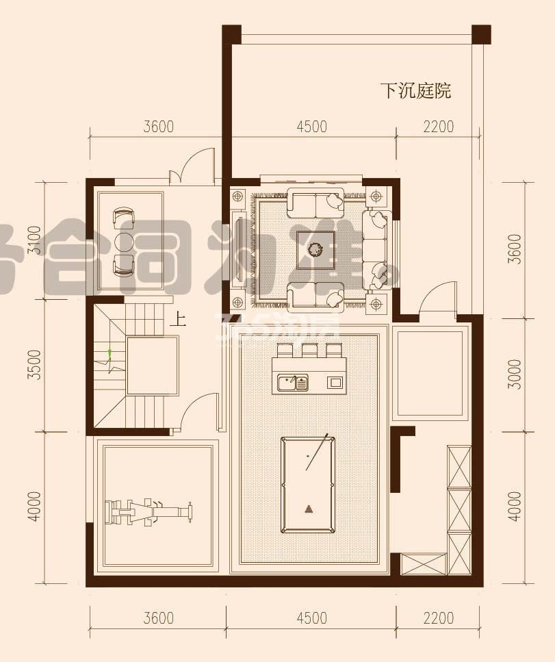 保利西山林语F23#F27#楼01户型387㎡之负一、二层平面