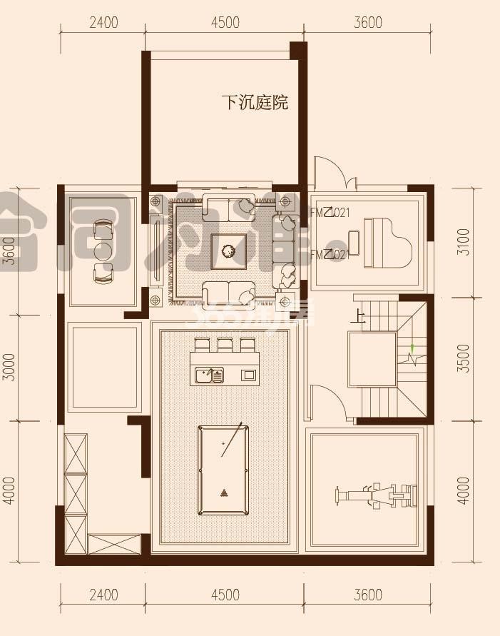 保利西山林语F23#F27#楼02户型400㎡之负一、二层平面