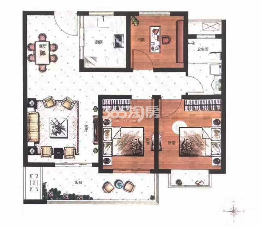 B户型建筑面积约98㎡三室两厅一卫