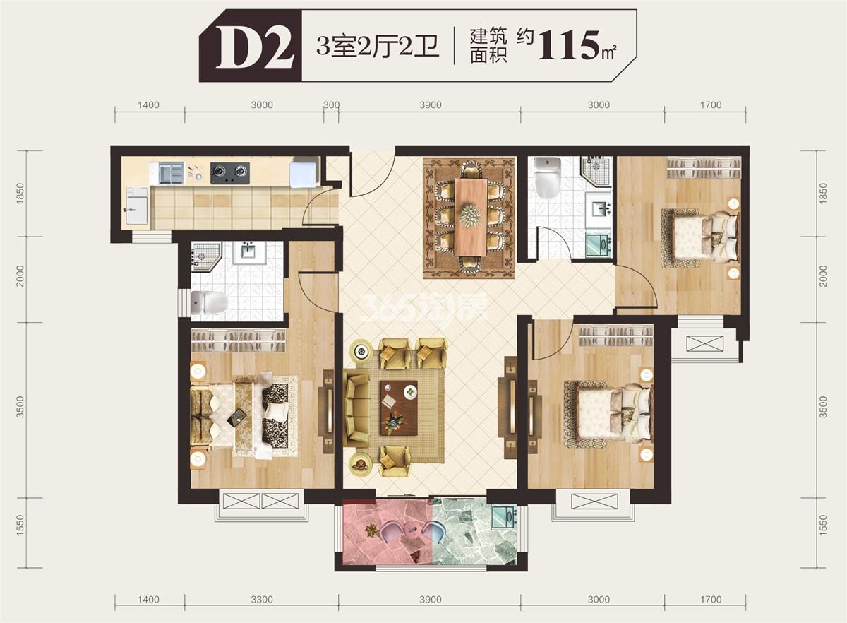 四季城 D2户型图115m2