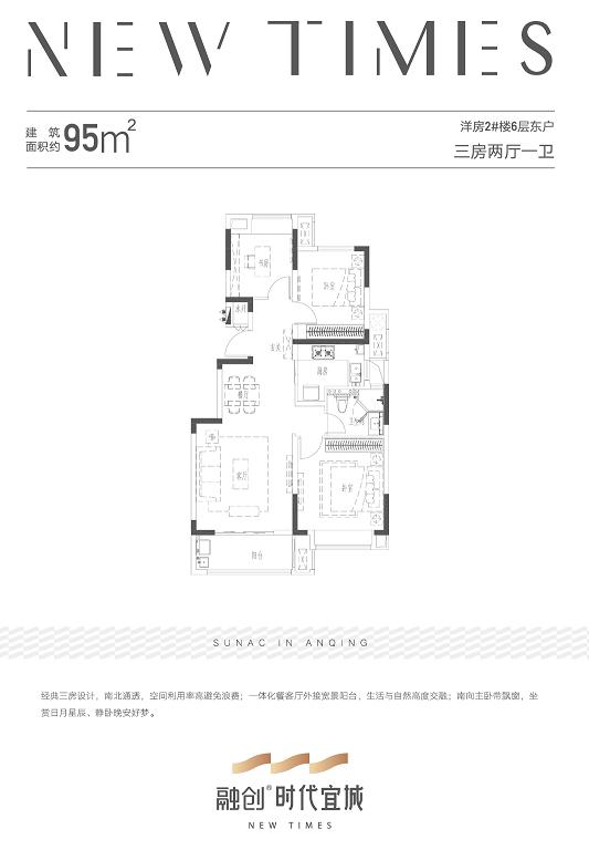 安庆融创时代宜城三室两厅一卫低密度多层95㎡户型图