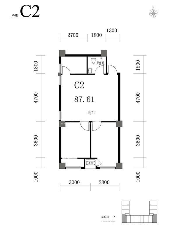天海·博雅盛世两室两厅一卫87.61平米