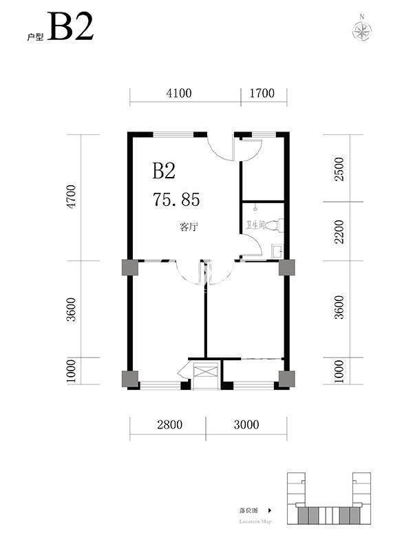 天海·博雅盛世两室两厅一卫75.85平米