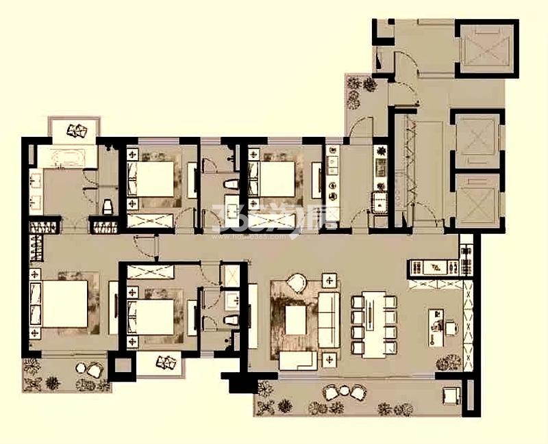 富力十号B区242平户型图