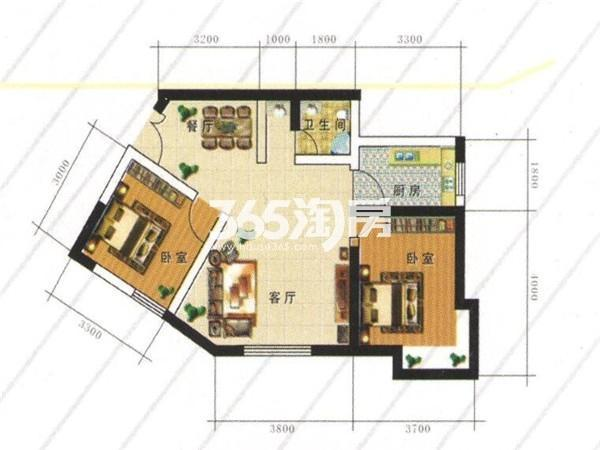 B户型:两室两厅一厨一卫 建筑面积78.75㎡