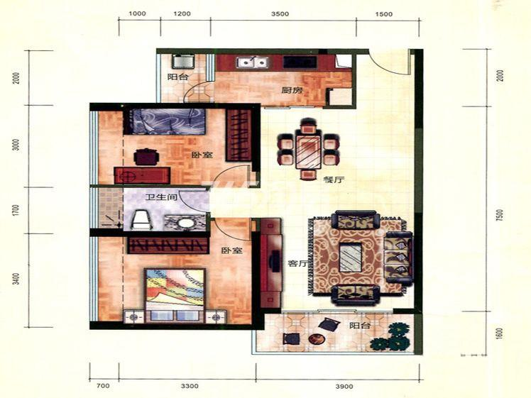 二期6#05户型 2室2厅1卫