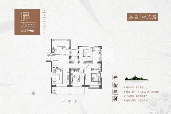 红星紫御半山F高层标准层3室2厅2卫1厨129平米