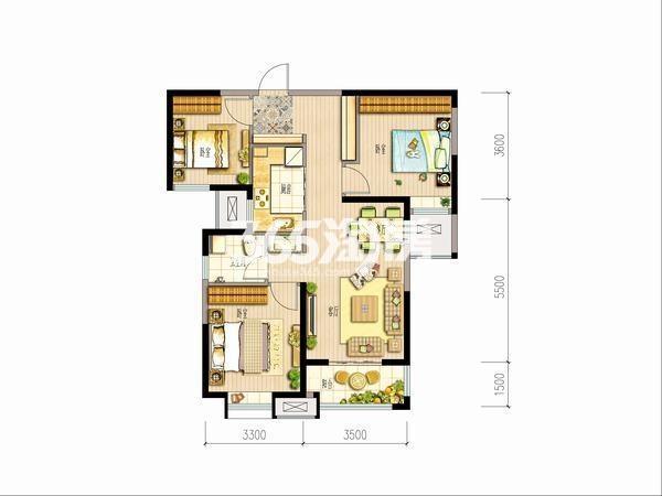 大华锦绣前城三室两厅一厨一卫95平米
