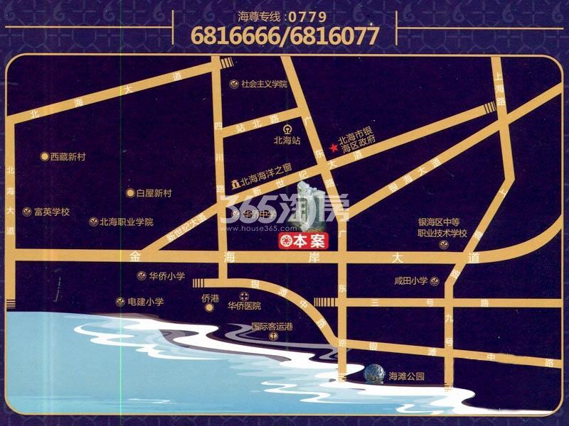 北海银滩海尊交通图