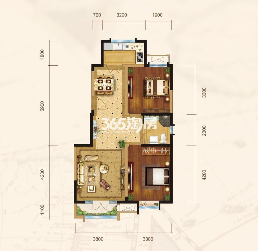 洋房D户型2室2厅1卫90-92平米