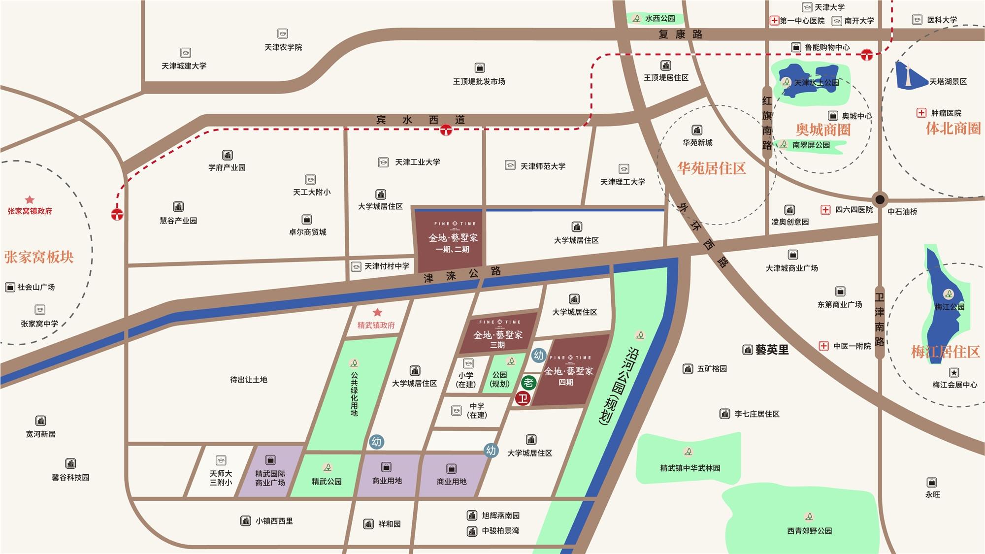 天津金地藝墅家交通图