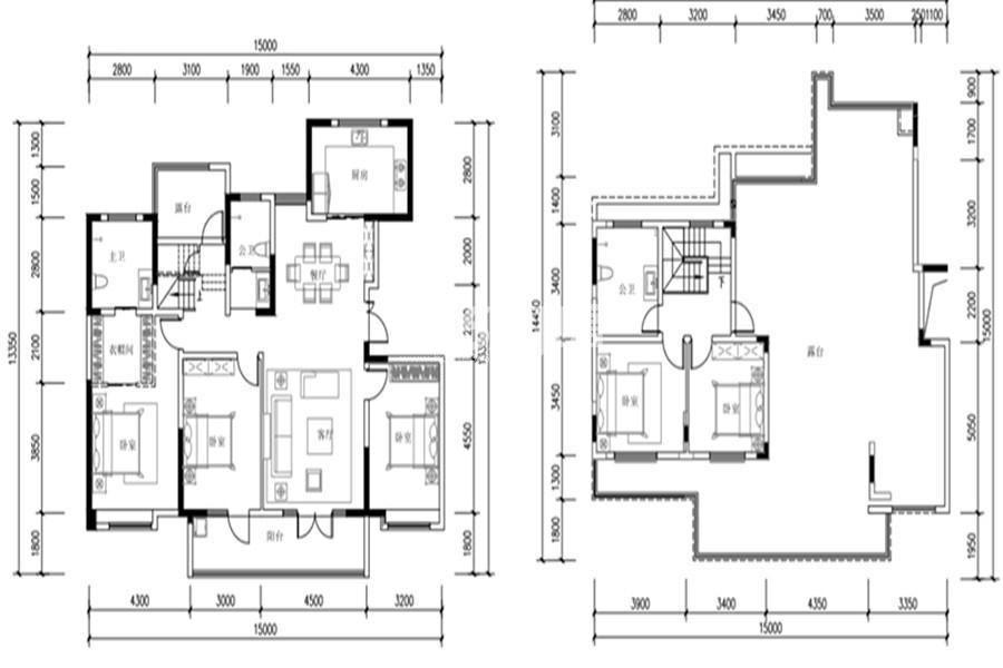 世园林语5室2厅3卫1厨215㎡户型图