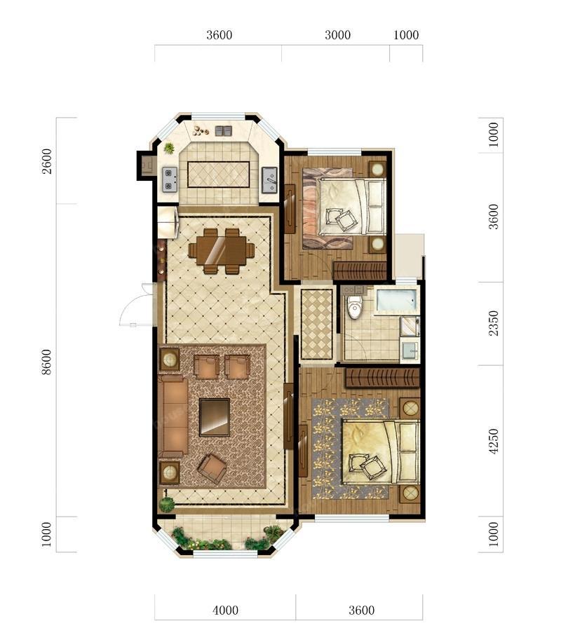 2室2厅1卫 101平米