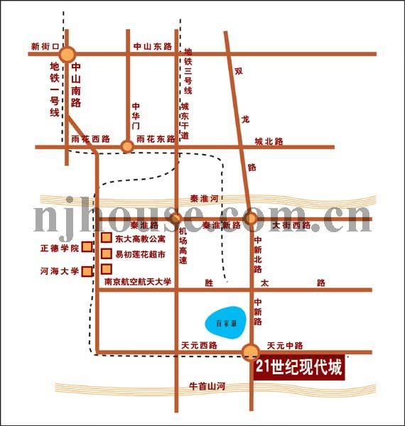 21世纪现代城交通图