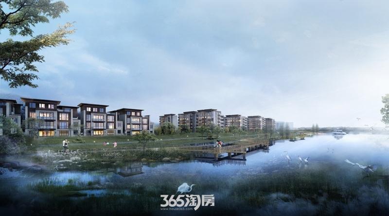 鹭山湖铜雀台沿河透视图
