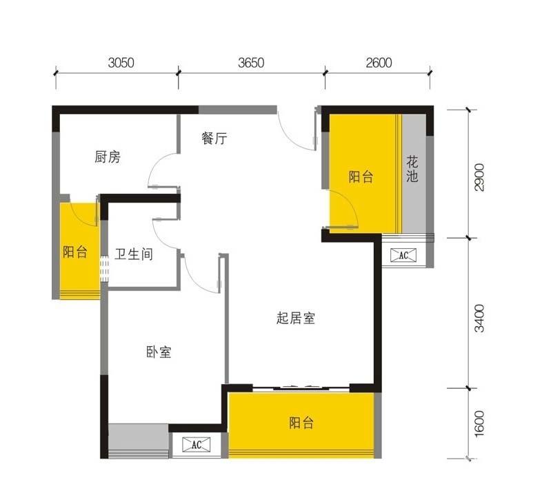 N户型  1室2厅1卫 72平米