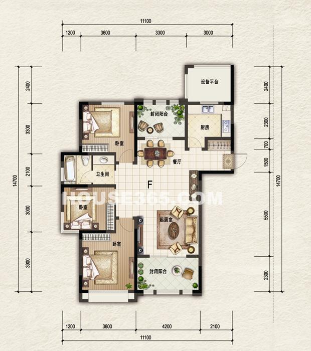 一期5-11#楼标准层F户型