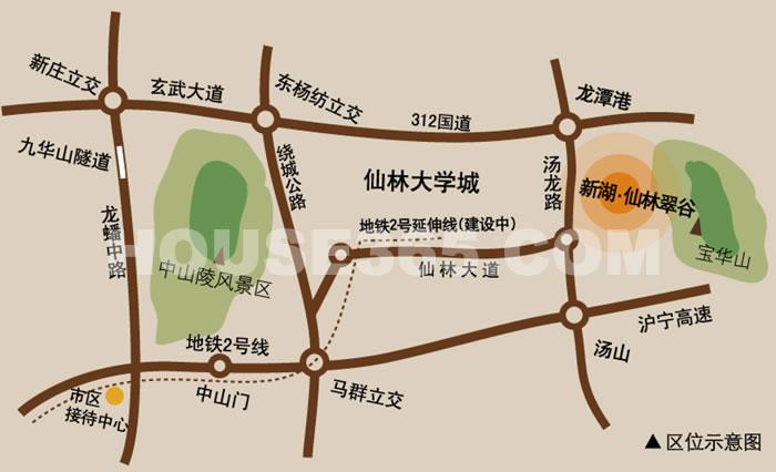 新湖仙林翠谷交通图