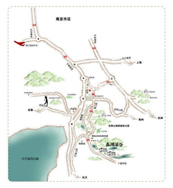 森湖溪谷交通图