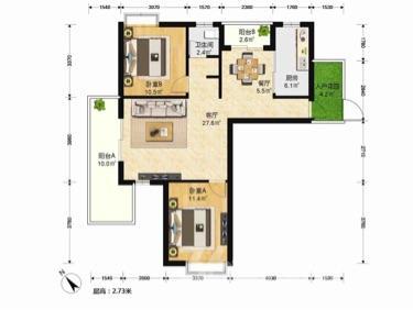 相城区非凡环秀湖花园2室2厅1卫109�O