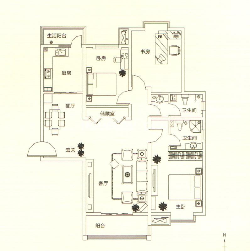 山水悦庭三室户型图3室2厅2卫146㎡