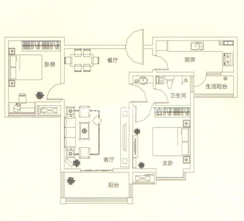 山水悦庭三室户型图3室2厅2卫91㎡