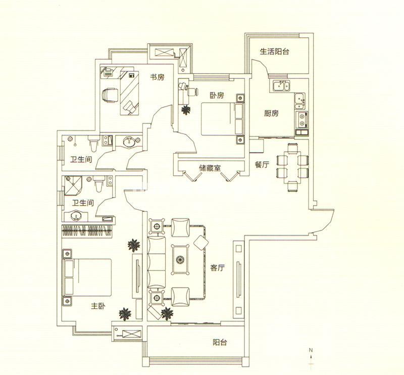 山水悦庭三室户型图3室2厅2卫134㎡