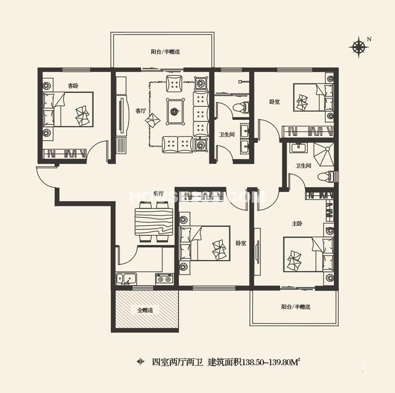 灞业大境A户型4室2厅2卫1厨 138.50㎡
