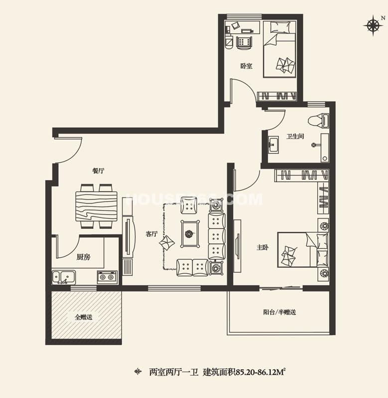 灞业大境C户型2室2厅1卫1厨 85.20㎡